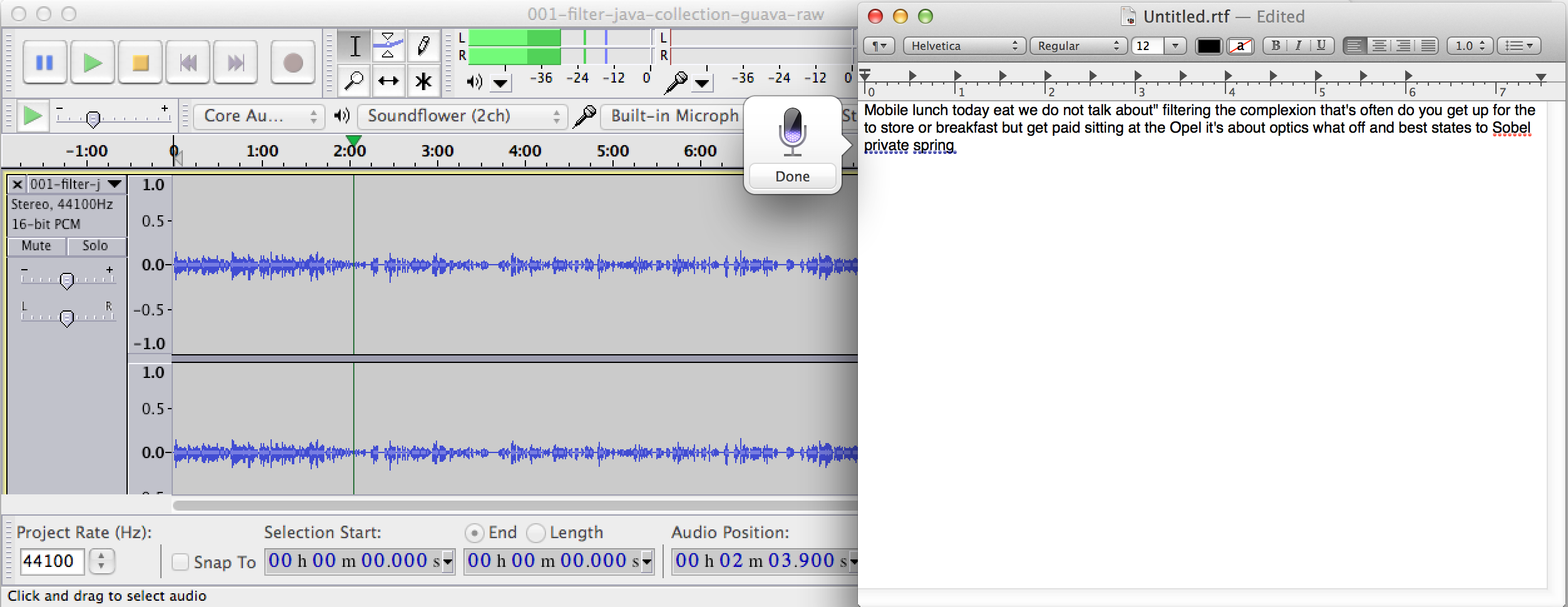 Audacity sunflower dictation